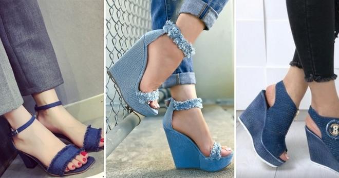 2ecc122dec64 Стильные женские джинсовые босоножки – на каблуке, плоской подошве ...