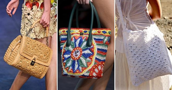 Летние вязаные сумки – красивые аксессуары для создания модного образа