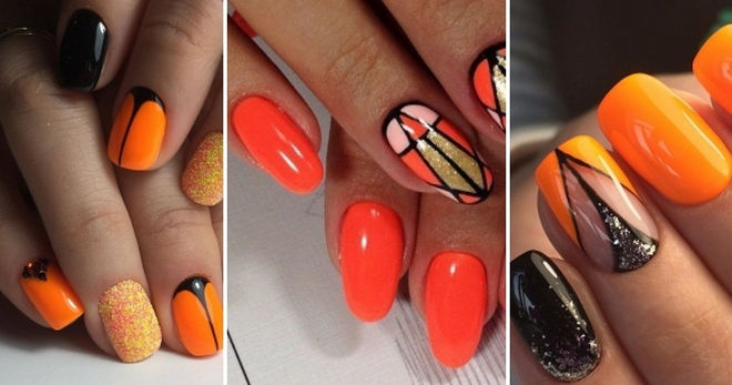Оранжевый маникюр 2018 – 52 фото модных идей для длинных и коротких ногтей
