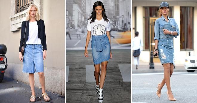 С чем носить джинсовую юбку – модные сочетания для лета, осени, зимы и весны