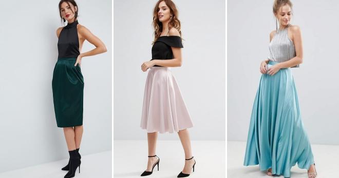 Атласная юбка – 44 фото длинных, миди и коротких моделей на все случаи жизни