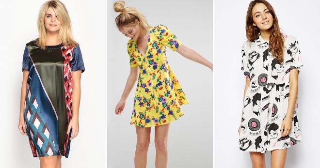 14244d38568fbd5 Стильное платье с принтом: геометрическим, тропическим, цветочным ...