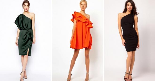 Платье на одно плечо – оригинальная вещь для любого женского гардероба