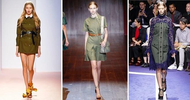 Платье в стиле милитари – смелый наряд для современных городских модниц