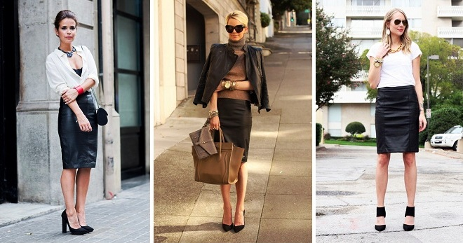 a8813a9fd91 Кожаная юбка-карандаш – 32 фото самых модных моделей для повседневной носки