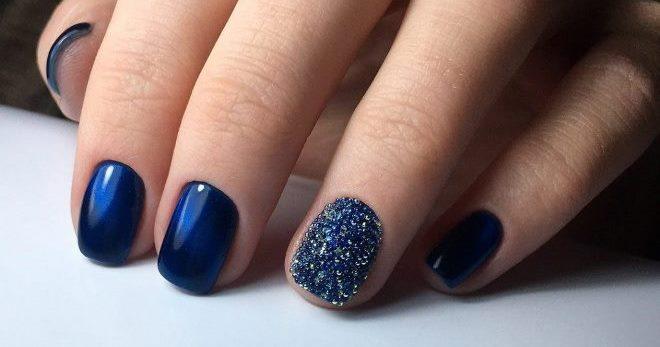 Стильный синий дизайн ногтей – для коротких и длинных, идеи ...