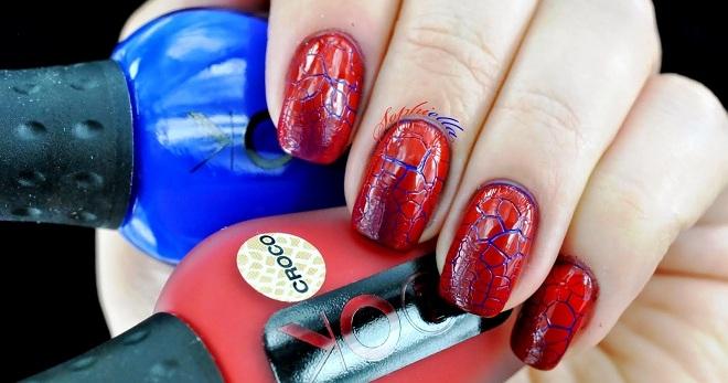 Стильный красно-синий маникюр – тенденции для коротких и ...