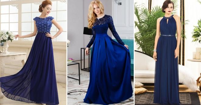 82055117becc881 Синее платье в пол – 54 фото модных моделей на каждый день и для особых  случаев