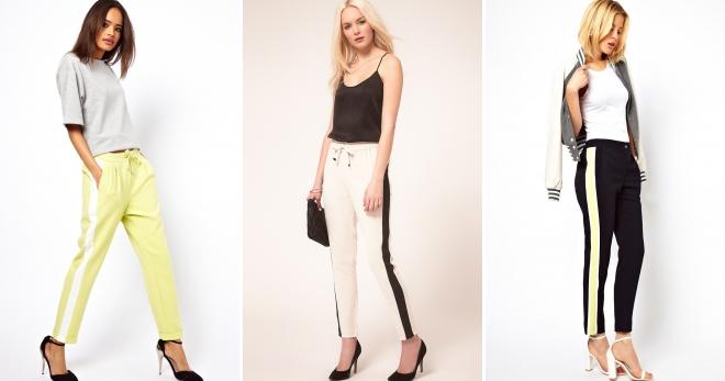 5bf05eb42f7e Стильные женские брюки с лампасами – классические, спортивные ...