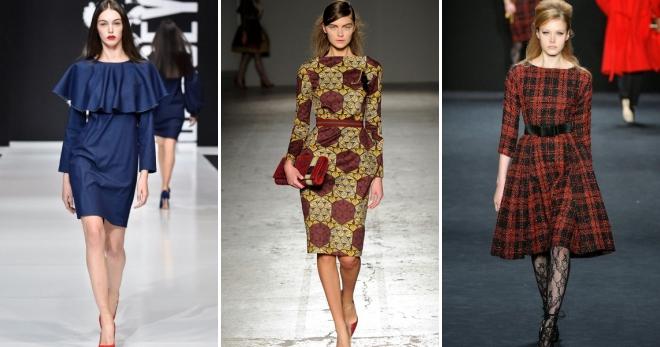модные осенние платья на каждый день короткие миди длинные