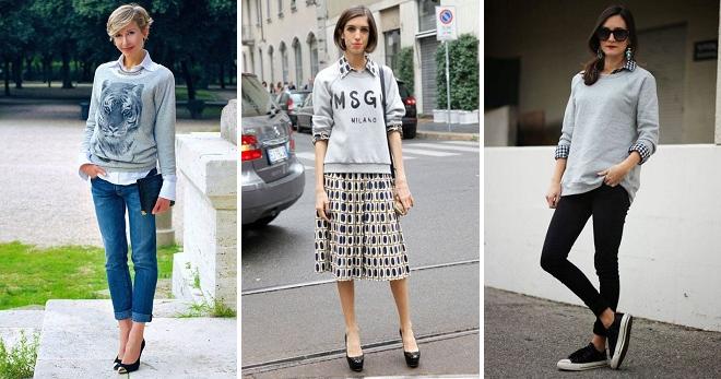 С чем носить свитшот – 28 модных образов и сочетаний