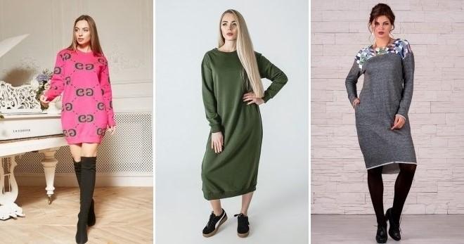 5ecc9df76305 Платье свитшот – что это такое, с капюшоном, кружевом, летучая мышь ...