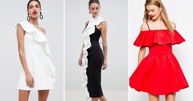 Платье с воланами – выбор современных городских модниц