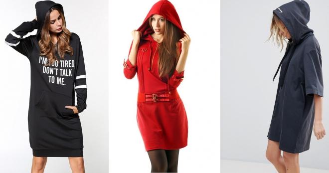 Платье с капюшоном – подборка самых модных образов для девушек и женщин