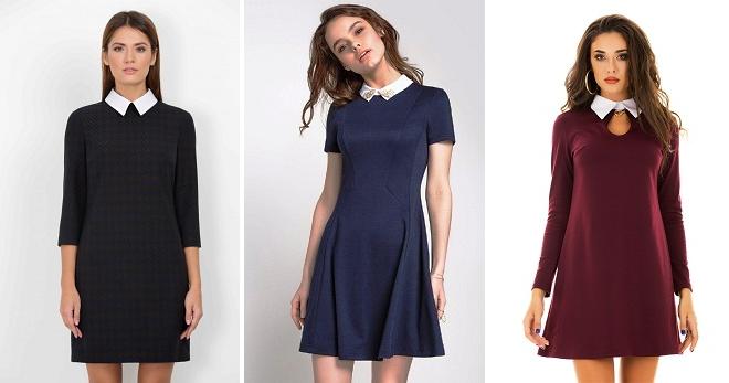 Платье с белым воротником – правила создания модного образа для любого случая