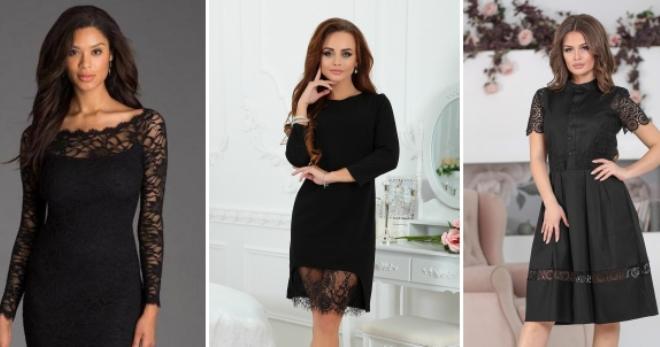 Черное платье с кружевом – модный наряд для свидания или вечернего выхода