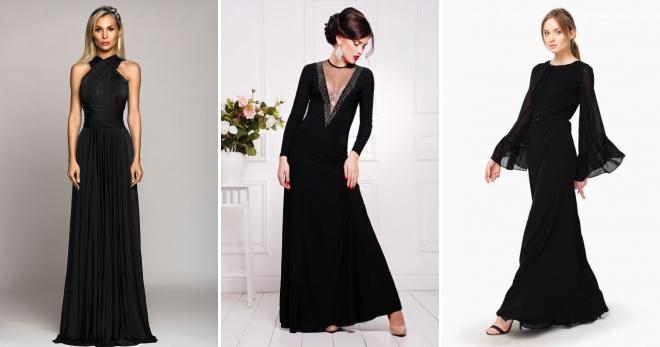 Длинное черное платье – 90 фото-образов на все случаи жизни