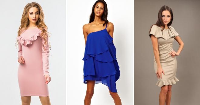 Платья с рюшами – нежный и романтичный наряд для современных модниц