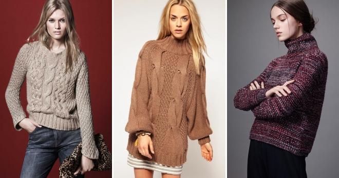 модные женские вязаные свитера 2018 2019 платье объемный