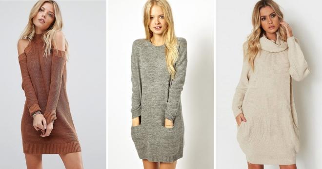 5b078975ff1 Вязаное платье-свитер – 40 самых модных моделей и образов