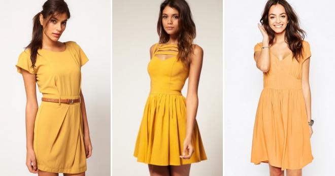Платье горчичного цвета – правила создания модного образа