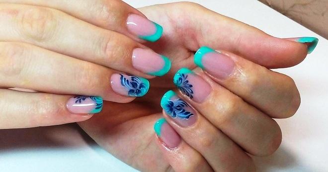 Бирюзовый френч на ногтях
