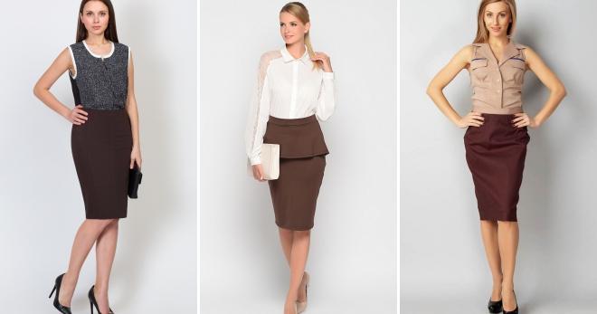 e6fc86ea095 Коричневая юбка – 30 вариантов ее сочетания для создания самых модных  образов