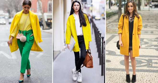 What to wear with a yellow coat - the rules for creating a bright image