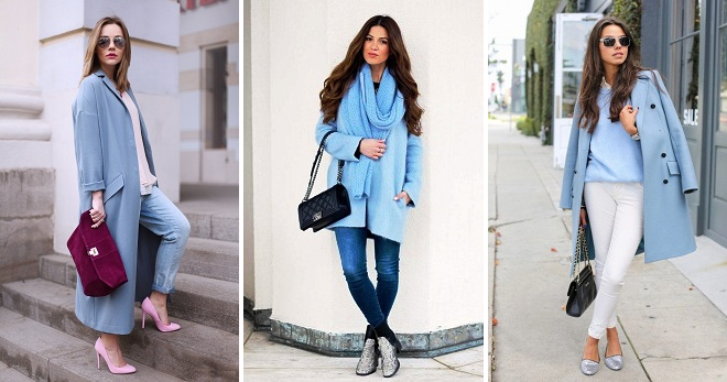 С чем носить голубое пальто – 32 фото самых модных образов этого сезона