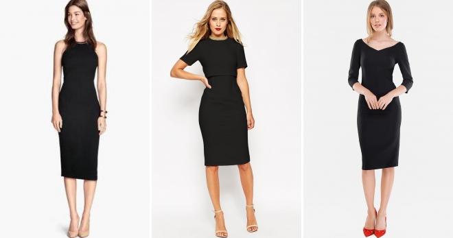 Черное платье-футляр – 50 фото на каждый день и для особых случаев