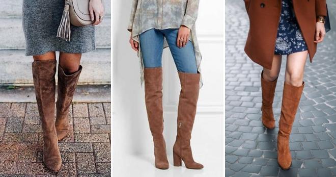 5adef8db9f00 С чем носить коричневые сапоги – замшевые, кожаные, на каблуке ...
