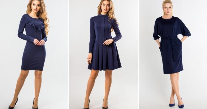 модное темно синее платье кружевное рубашка футляр бархатное с