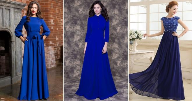 17f10266727 Синее длинное платье – правила создания модного образа на любой вкус