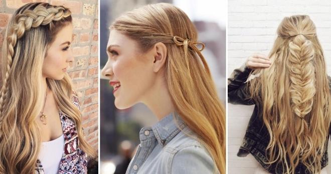 Модные прически с распущенными волосами – пучок, хвост, бант, косички, с начесом, канекалоном, рожками, объемные, вечернии || Прическа две косы и распущенные волосы