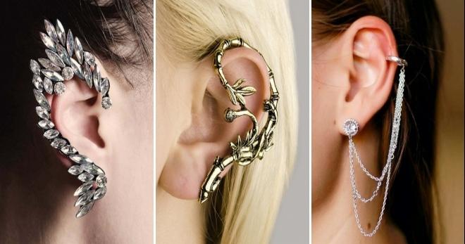 9c9eb43ef810 Серьги каффы – из золота, серебра, с бриллиантами, жемчугом, перьями ...