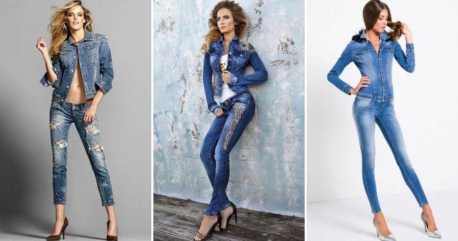 5820705667e4 Стильный женский джинсовый костюм – демисезонный, летний, зимний, с ...