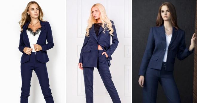 cfd16e4fd75923 Синий костюм – обзор самых популярных моделей для девушек и женщин