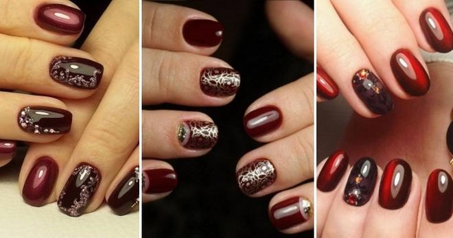 Дизайн ногтей вишневого цвета