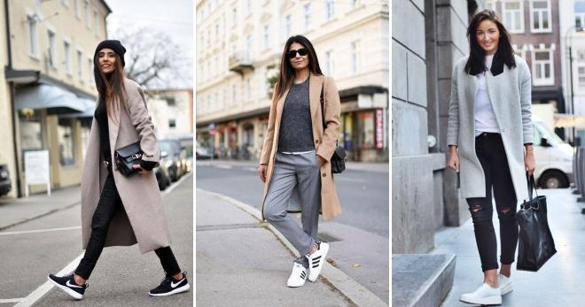 Пальто с кедами – подборка самых стильных сочетаний и образов