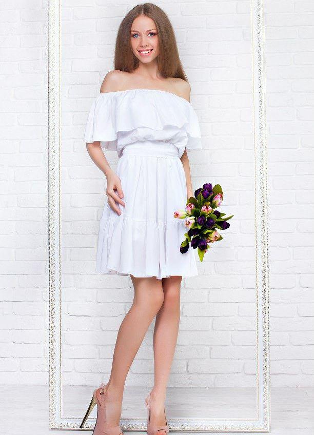 8cfc9b94784 Белое платье с открытыми плечами