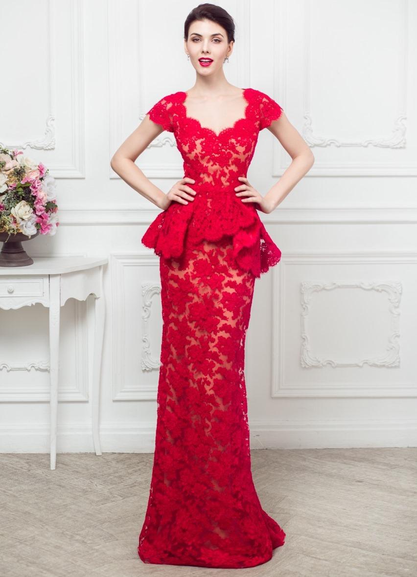 красное гипюровое платье в пол фото