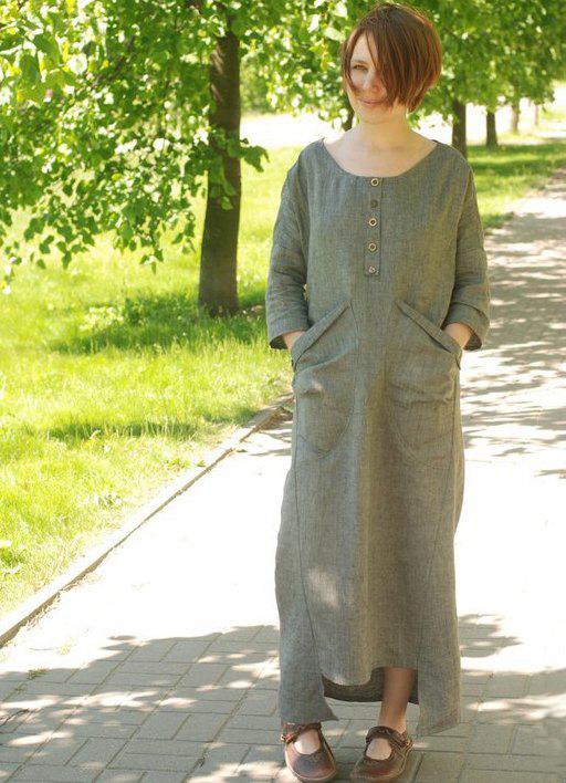 Льняное платье в стиле бохо 2