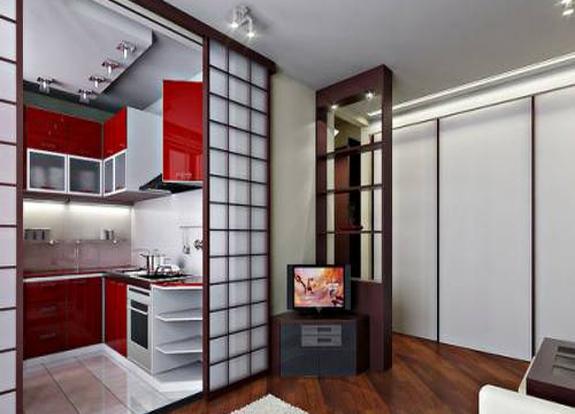 двери раздвижные между кухней и гостиной фото