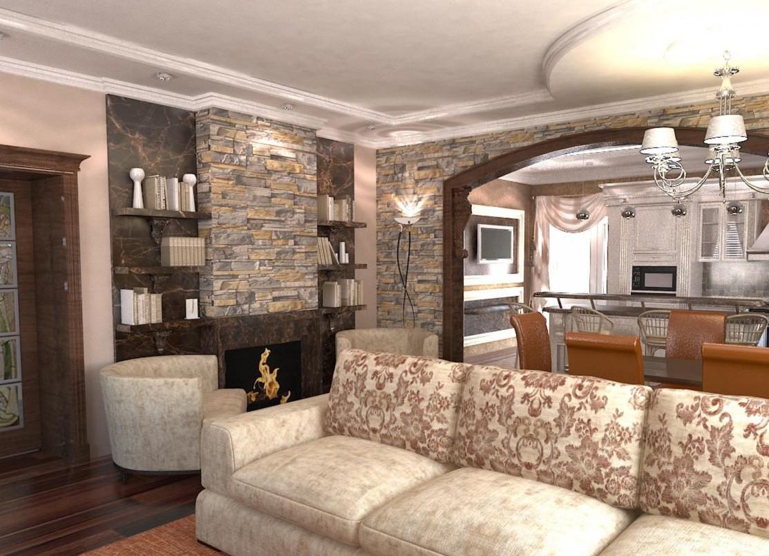 гостиная+кухня в частном доме фото