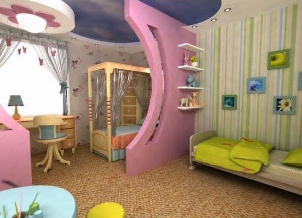 Дизайн стен в детской комнате фото для разнополых детей