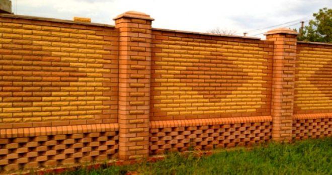 Заборы для частного дома из кирпича и кованных узоров