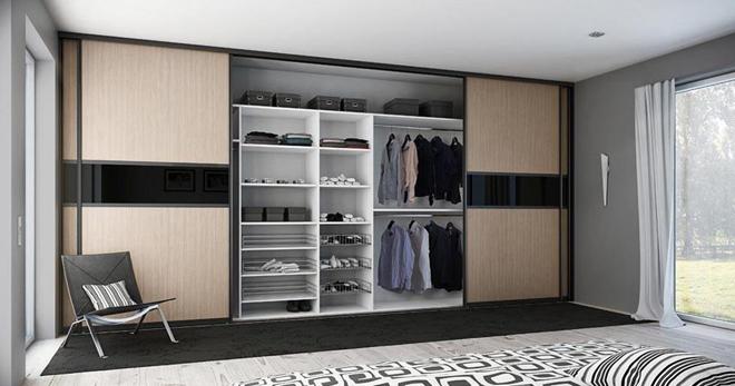 встроенный шкаф в спальне дизайн и наполнение радиусный угловой