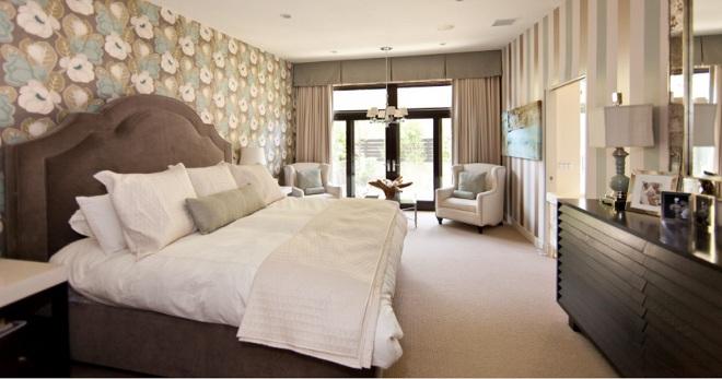 комбинирование обоев в спальне сочетание двух цветов варианты