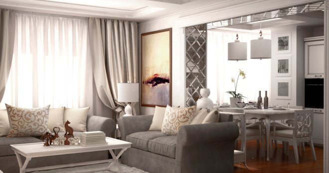 дизайн кухни гостиной в частном деревянном доме в классическом или