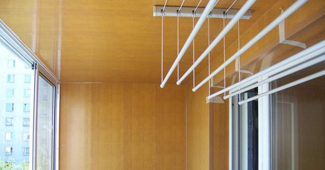 потолочная сушилка для белья на балкон алюминиевая раздвижная с
